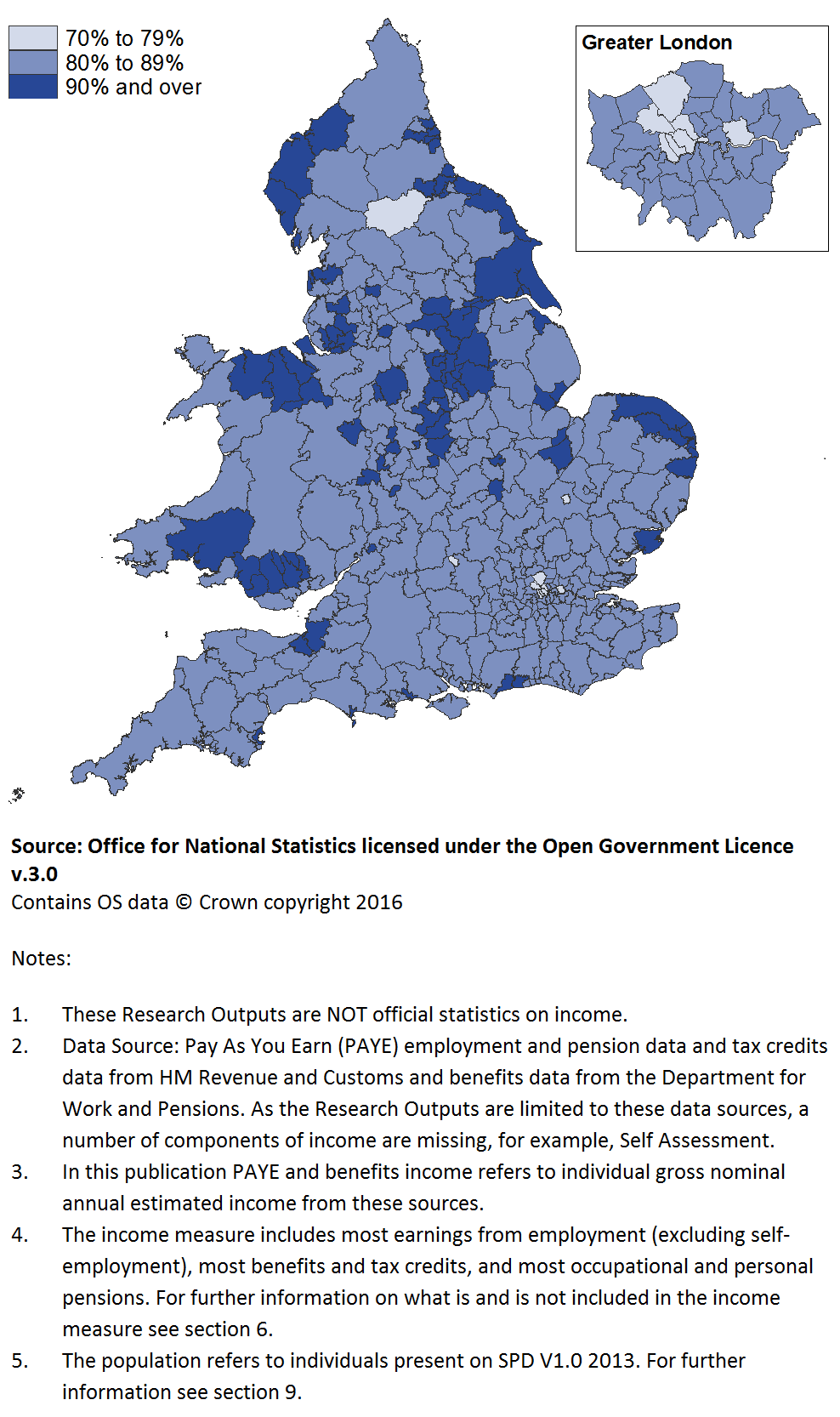 All local authorities had some income information available for at least 70% of their population.