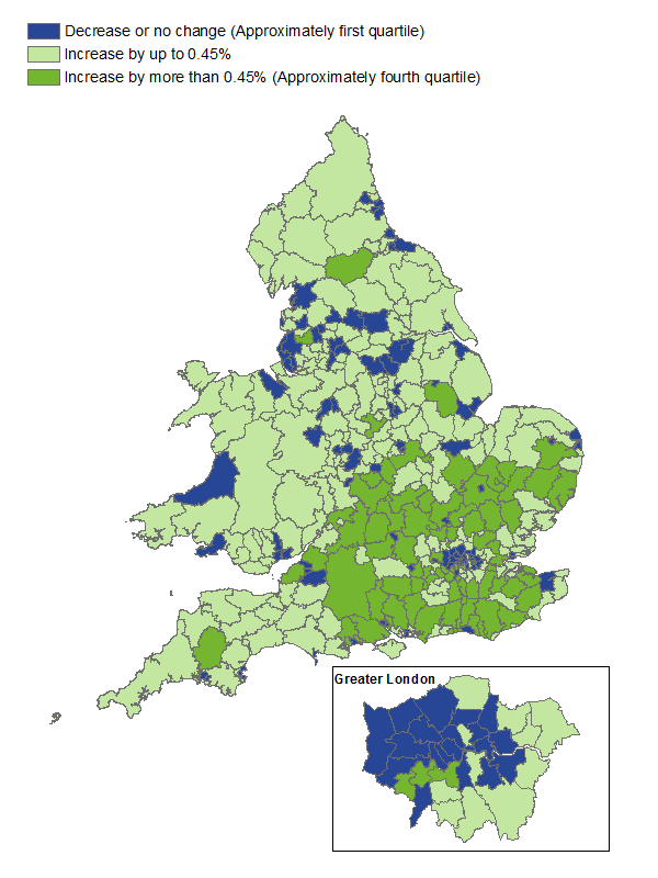 The biggest affect of 'half-weights' redistribution is a reduction of estimates for London local authorities and an increase in estimates across the south and south-east of England.