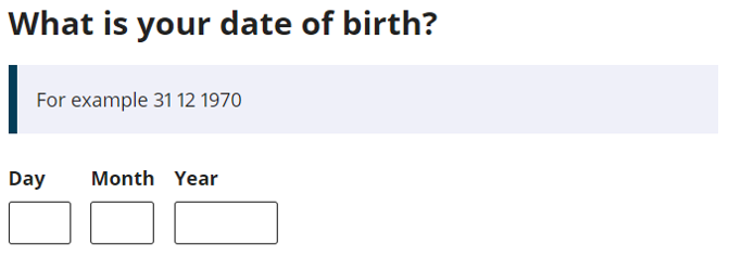 Example of automatic text fill for a personal response: What is your date of birth?