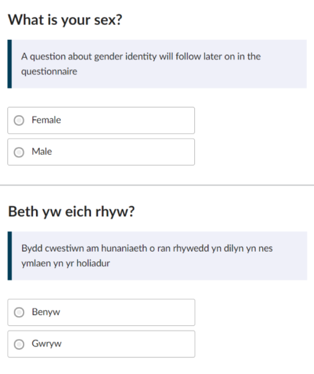 "Is the gender you identify with the same as your sex registered at birth? This question is voluntary. Response options are ""Yes"" or ""No"", with an option to write in the gender you identify with."