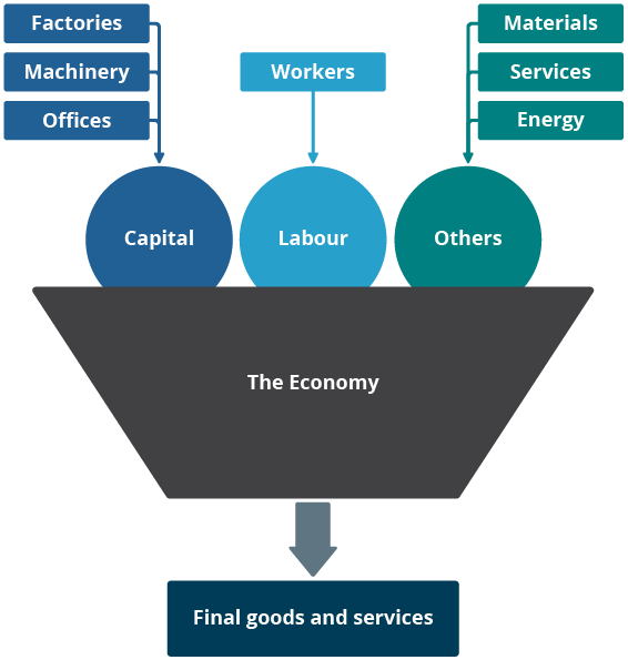 The economy is a system for converting inputs of capital and labour into outputs of goods and services