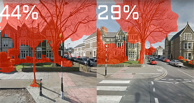 This image shows the left and right section of Cathedral Road in Cardiff, with vegetation values