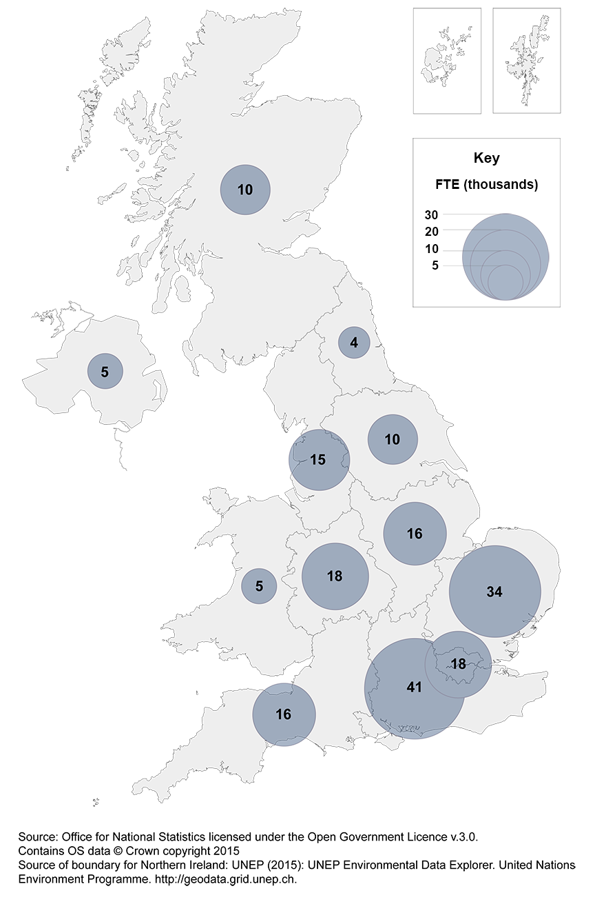 Map 2: Employment in UK businesses on performing R&D, by country or region, 2014