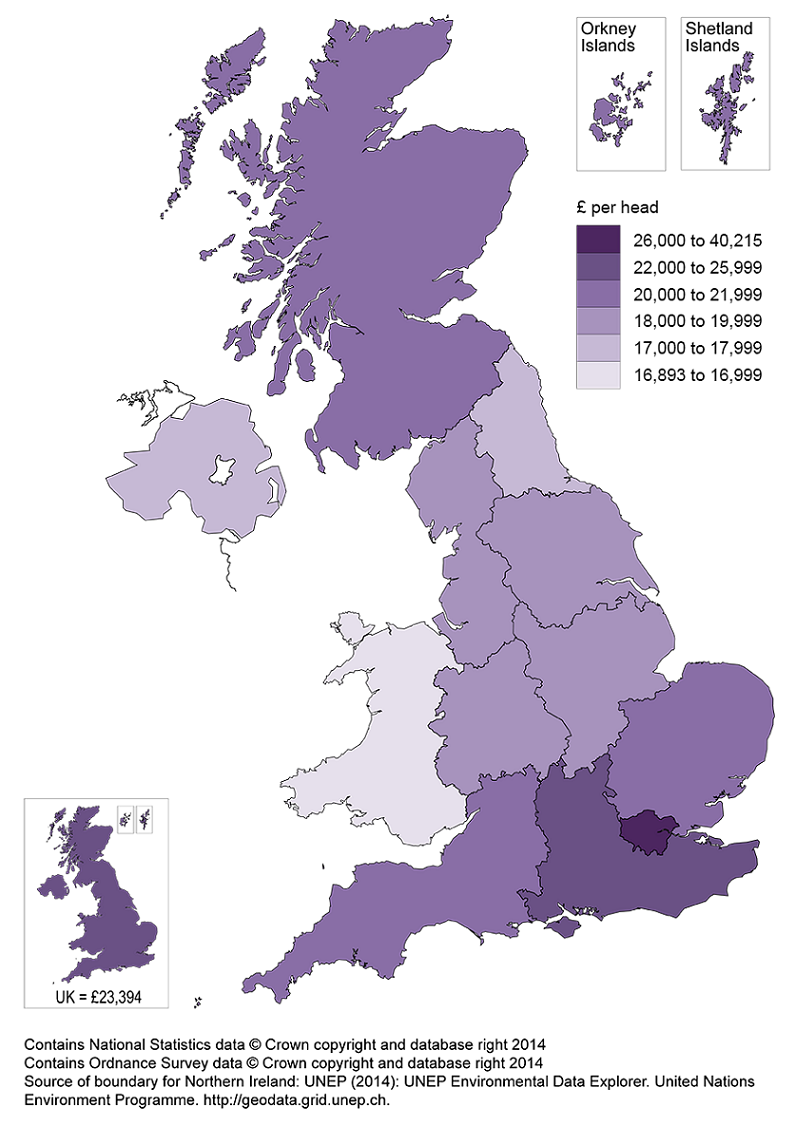 Map 1: Regional GVA per head by NUTS1 area, United Kingdom, 2013