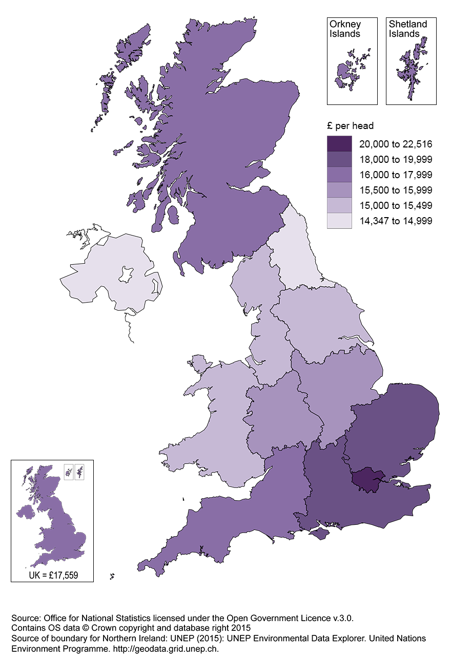 Map 1: UK Regional gross disposable household income map, 2013