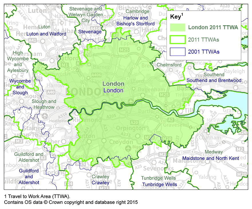 Map 1: London TTWA, 2001 and 2011