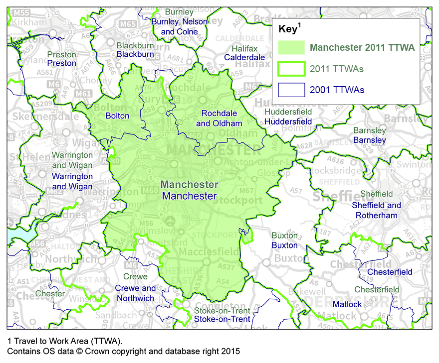 map 2 manchester ttwa 2001 and 2011