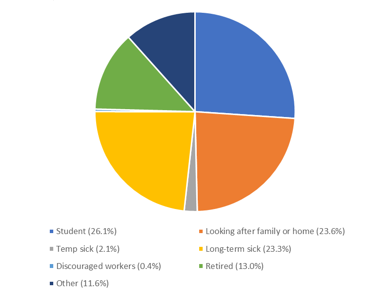 Students constituted the largest proportion of economically inactive people.