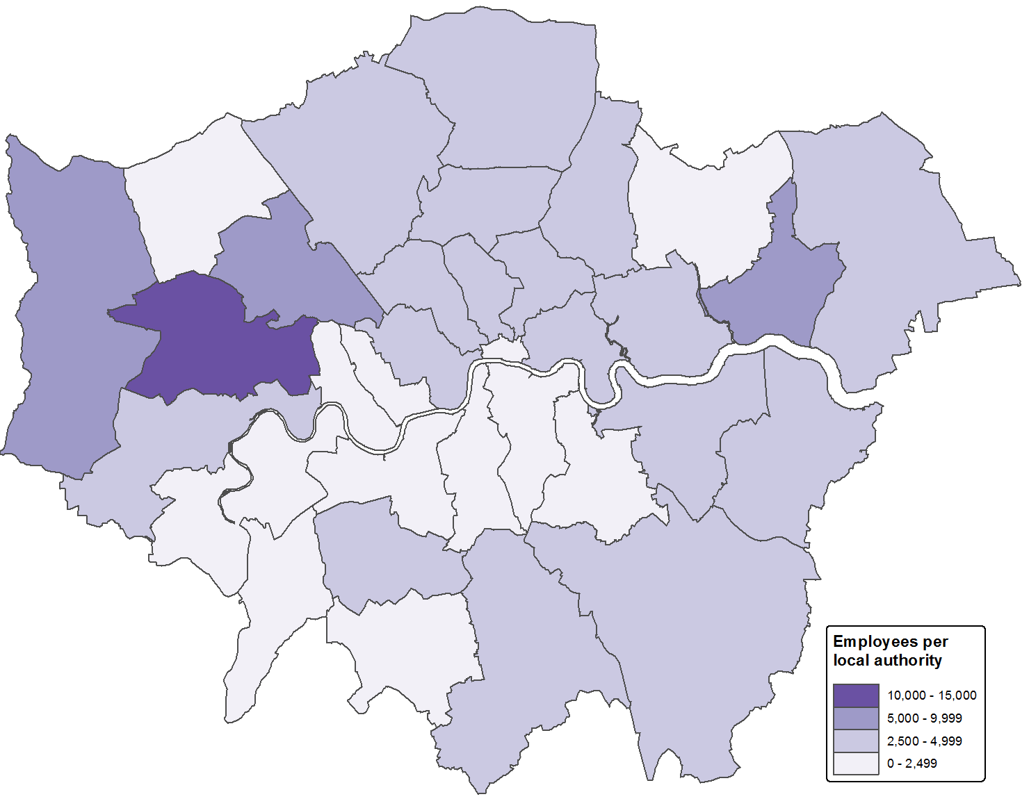 Manufacturing employees are more concentrated in outer London than inner London, moreso in the North than the South, with highest concentrations in the western boroughs Brent, Ealing and Hillingdon.