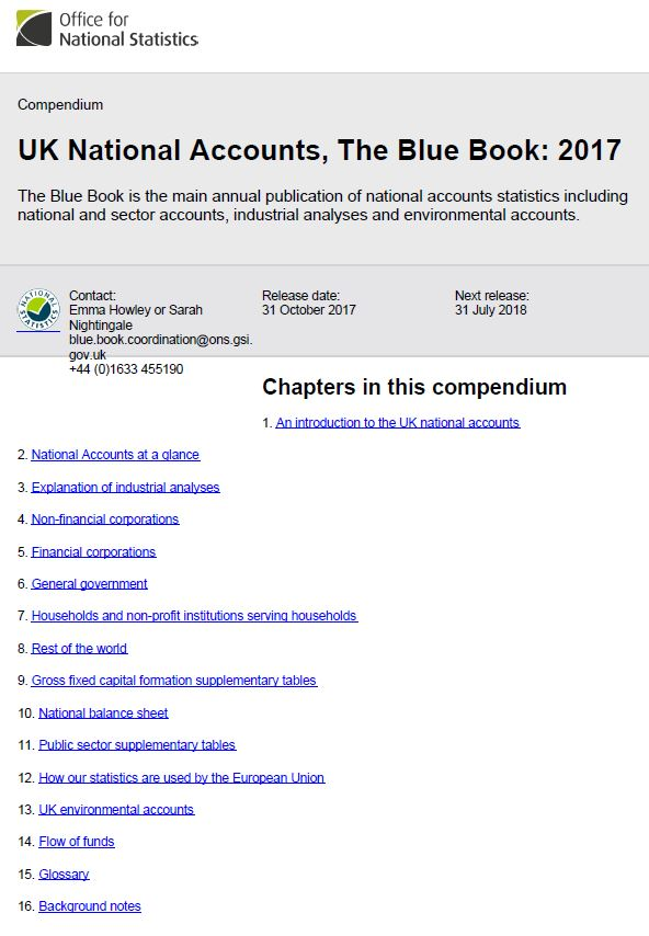 Front page of the blue book compendium.
