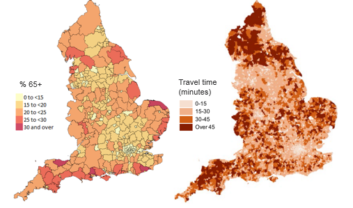 The proportion of the population aged 65 years and over is higher in coastal areas and average minimum travel times for key services are higher in rural areas than urban areas.