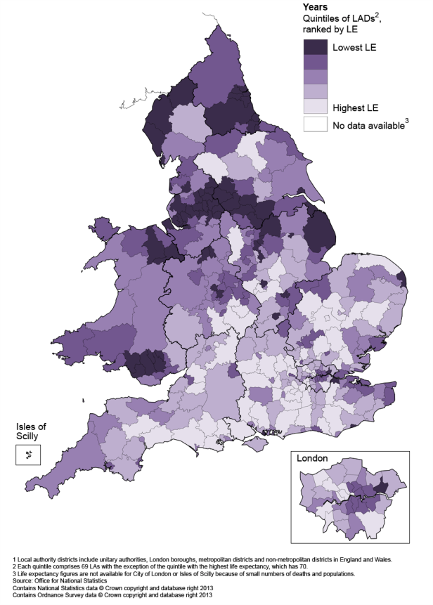 Map 2: Life expectancy (LE) for females at birth by local authority district in England and Wales, 2009–11