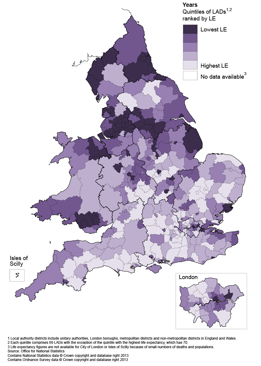 Map 2: Life expectancy (LE) for females at birth by local authority district in England and Wales, 2010–12
