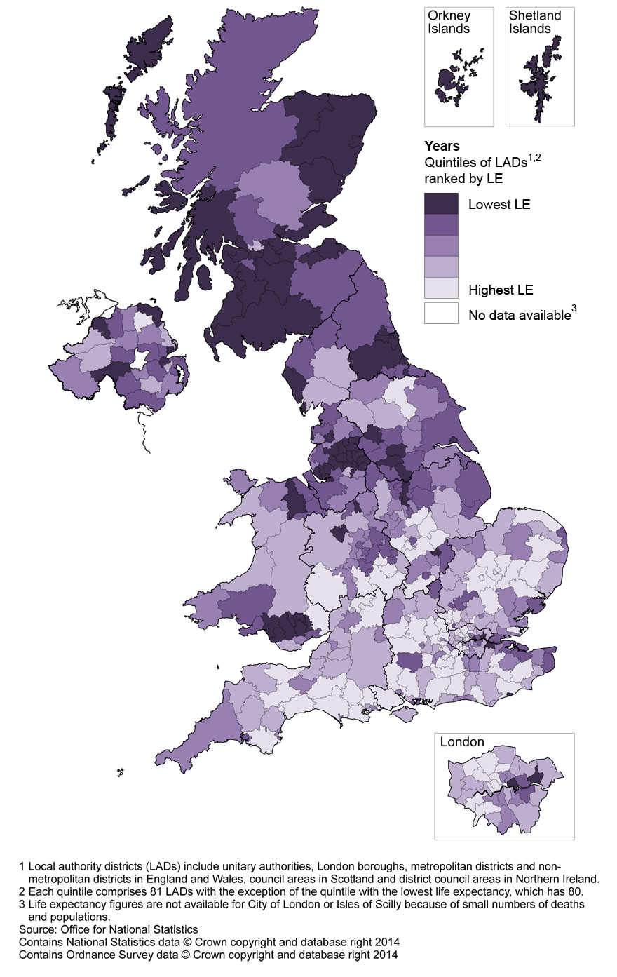 Map 4: Life expectancy (LE) for females at age 65 by local authority district, United Kingdom, 2010–12