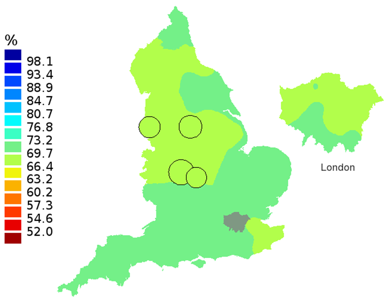 Figure 2B: Smoothed maps of the one-year survival index (%) for all cancers combined in 211 Clinical Commissioning Groups: England, 2002, patients aged 55-64 years