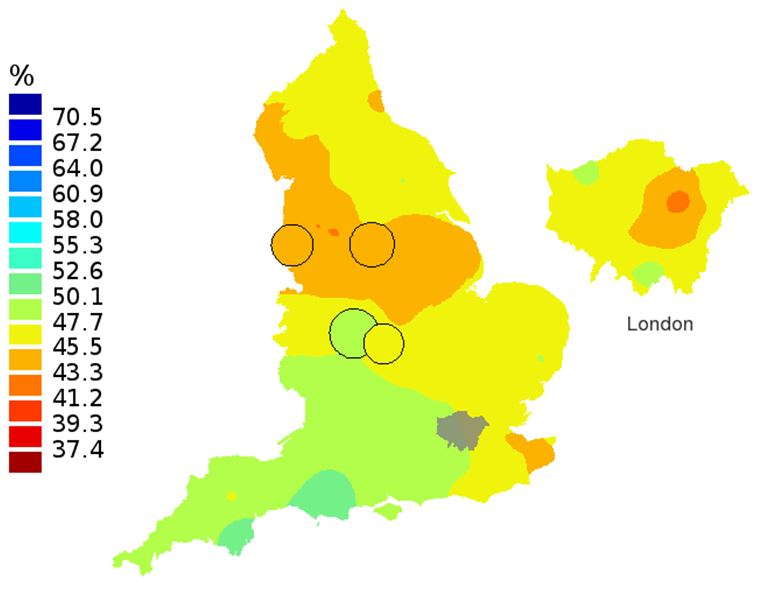 Figure 3A: Smoothed maps of the one-year survival index (%) for all cancers combined in 211 Clinical Commissioning Groups: England, 1997, patients aged 75-99 years