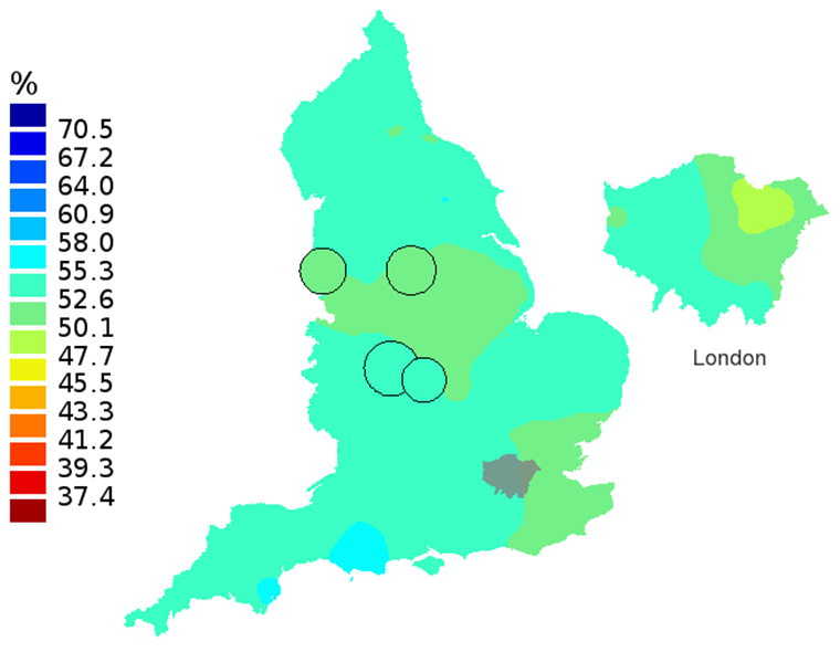 Figure 3C: Smoothed maps of the one-year survival index (%) for all cancers combined in 211 Clinical Commissioning Groups: England, 2007, patients aged 75-99 years