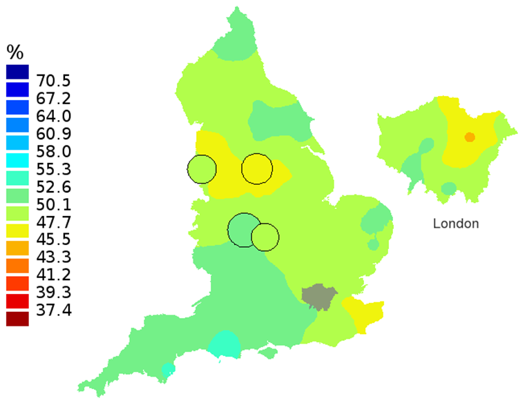 Figure 3B: Smoothed maps of the one-year survival index (%) for all cancers combined in 211 Clinical Commissioning Groups: England, 2002, patients aged 75-99 years