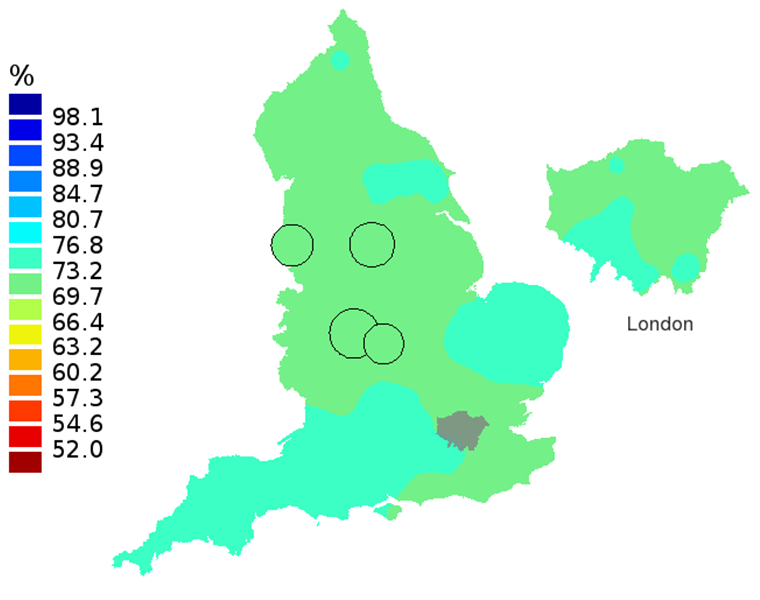 Figure 2C: Smoothed maps of the one-year survival index (%) for all cancers combined in 211 Clinical Commissioning Groups: England, 2007, patients aged 55-64 years