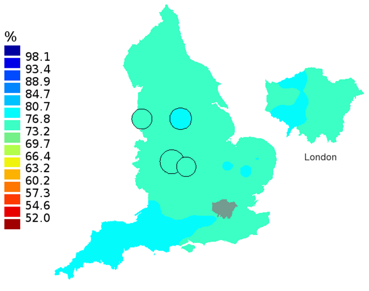 Figure 2D: Smoothed maps of the one-year survival index (%) for all cancers combined in 211 Clinical Commissioning Groups: England, 2012, patients aged 55-64 years