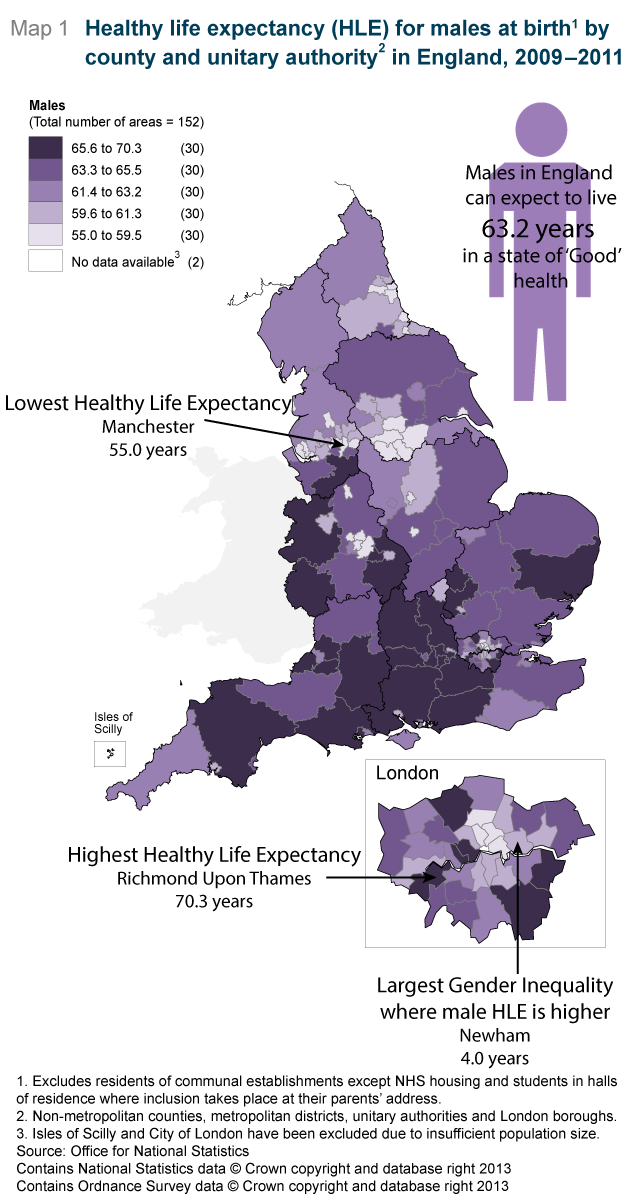 Map 1: Healthy life expectancy (HLE) for males at birth1 by county and unitary authority2 in England, 2009-2011