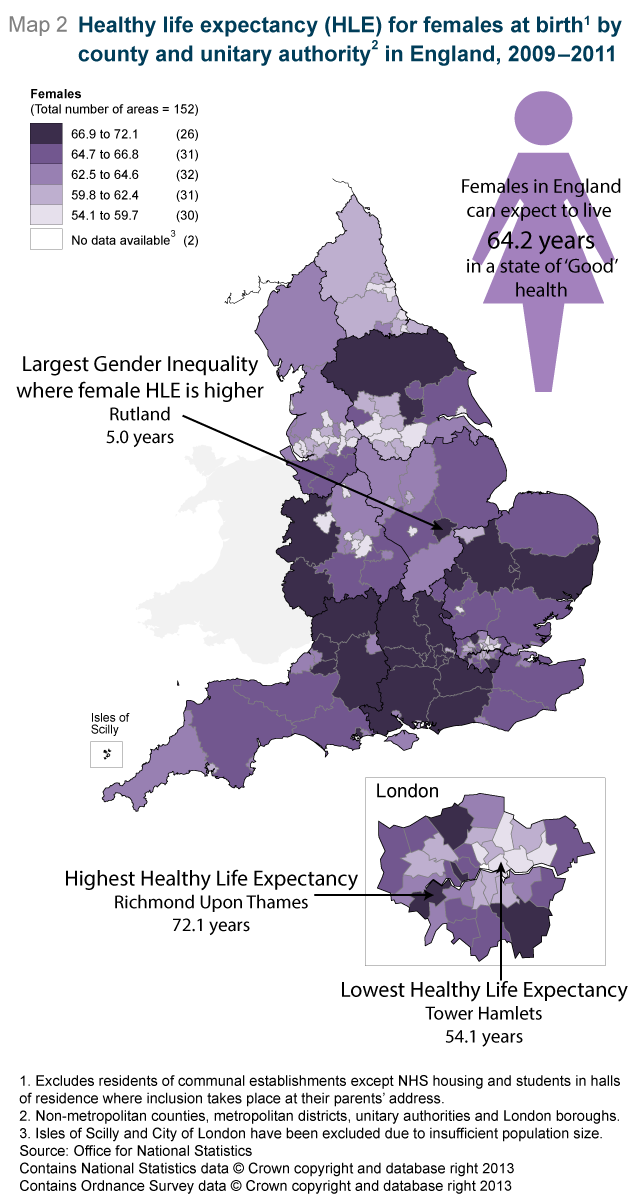 Map 2: Healthy life expectancy (HLE) for females at birth1 by county and unitary authority in England, 2009-2011