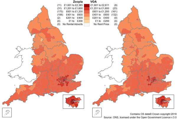 There was a similar geographic pattern of the rent prices in the Zoopla and VOA data.