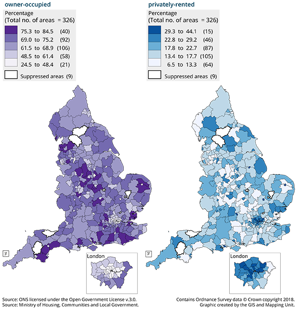 Local authorities with the highest percentages of owner occupied dwellings are spread across England.