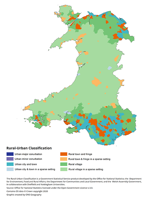 Rural and Urban Classification for Lower Layer Super Output Areas (LSOAs), Wales, 2011.