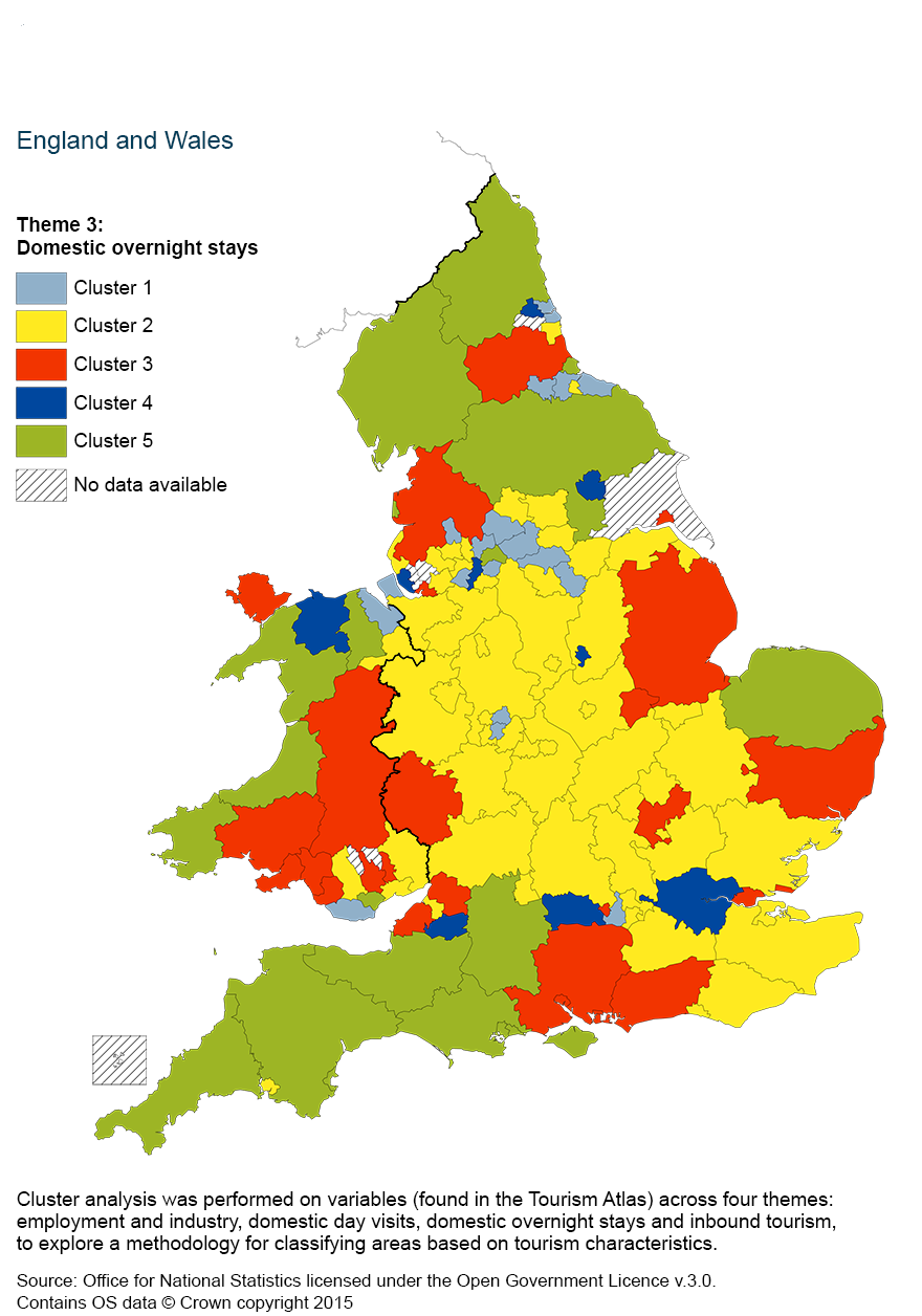 Map 4: Cluster analysis of domestic overnight stays, using a five cluster classification by county and unitary authority, 2011 to 2013