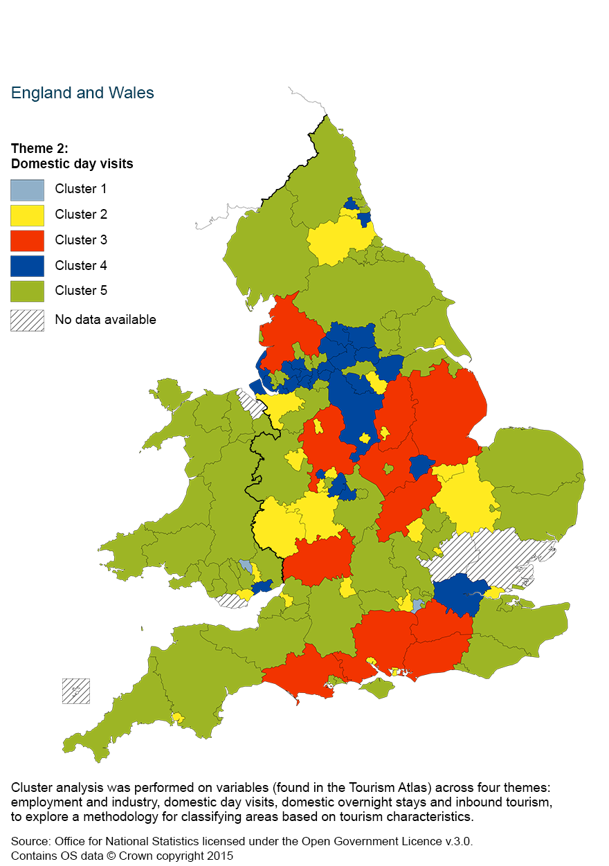Map 3: Cluster analysis of day visits, using a five cluster classification by county and unitary authority, 2011 to 2013