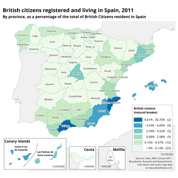 British citizens live in Malaga and Alicante provinces in Spain.
