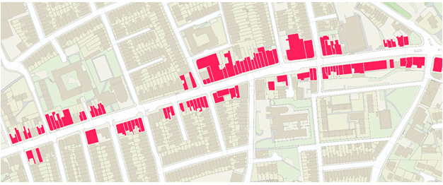 A candidate high street retail cluster visualised using the buildings that the retail addresses are associated with