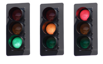 Traffic lights seen by people with normal vision, with red, amber and green lights.